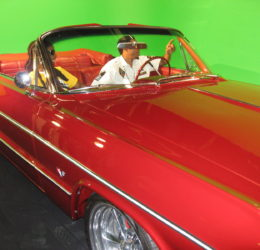 laza red car green screen